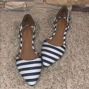 Blue/Ivory Stripe Flats Size 7 1/2